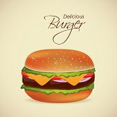 Delicious burger with stylish text, can be used as restaurant menu