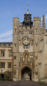 Clock Tower In Trinity College Cambridge University