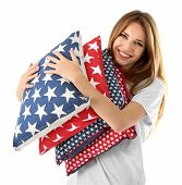 Beautiful young girl with pillows  isolated on white t background