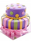 Delicious birthday cake isolated on white