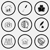 Education set. Black and white set vector icons.