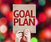 Goal Plan card with colorful background with defocused lights