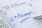 an appointment is entered on a calendar massage