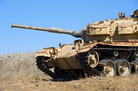 image of panzer  - Old centurion tank of the yom kippur war close to the syrian border on the Golan Heights in Israel - JPG