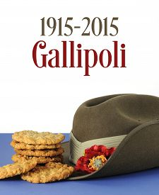 picture of tribute  - Australian Gallipoli Centenary WWI April 1915 tribute with ANZAC biscuits army slouch hat and sample text - JPG