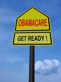 foto of lobbyist  - obamacare get ready conceptual directional post over blue sky - JPG