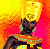 stock photo of nubian  - Black Egyptian princess in our modern digital art style - JPG