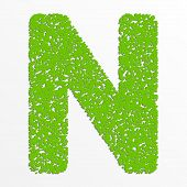 picture of letter n  - Vector colorful English or Latin alphabet items with grain texture - JPG