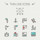stock photo of money  - Business thin line icon set for web and mobile - JPG