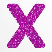 picture of letter x  - Vector colorful English or Latin alphabet items with grain texture - JPG