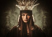 stock photo of headdress  - Woman in traditional indian garment and headdress  - JPG