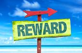 picture of paycheck  - Reward sign with beach background - JPG