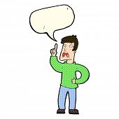 stock photo of moaning  - cartoon man with complaint with speech bubble - JPG