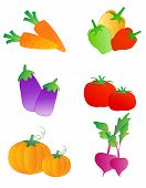 picture of brinjal  - Collection of colorful vegetable illustrations isolated on white background - JPG