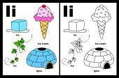 picture of english ivy  - Kids alphabet coloring book page with outlined clip arts to color - JPG