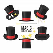 stock photo of top-hat  - Magic hat set - JPG