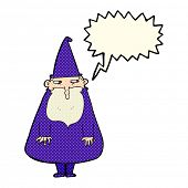 image of wizard  - cartoon wizard with speech bubble - JPG