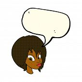 image of pouting  - cartoon pretty female face pouting with speech bubble - JPG