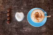 stock photo of bonbon  - I love coffee sign made of bonbons - JPG