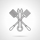 picture of tong  - Black flat line vector icon for crossed barbecue tools fork - JPG