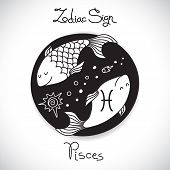 image of pisces  - Pisces zodiac sign of horoscope circle emblem in cartoon style - JPG