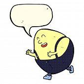 picture of nursery rhyme  - cartoon humpty dumpty egg character with speech bubble - JPG