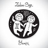 image of horoscope signs  - Gemini zodiac sign of horoscope circle emblem in cartoon style - JPG
