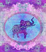 stock photo of indian elephant  - Vintage abstract Indian ornament with an elephant - JPG