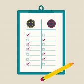 picture of positive negative  - clipboard  to comparative rating with check box and pencil - JPG