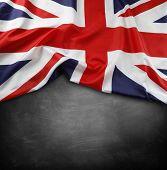 image of union  - Union Jack flag on blackboard - JPG