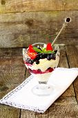 foto of curd  - curd dessert with fresh berries and fruits - JPG