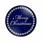 stock photo of merry  - Merry Christmas Button A blue button with snowflakes with words Merry Christmas isolated on a white background - JPG