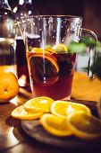 stock photo of sangria  - Large jar of sangria with red wine - JPG