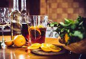 stock photo of sangria  - Large jar of sangria with red wine - JPG