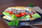 pic of baguette  - Healthy Tuna Baguette With Lettuce - JPG
