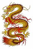 image of eastern culture  - Vector illustration of gold eastern dragon isolated - JPG