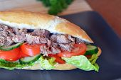 image of baguette  - Healthy Tuna Baguette With Lettuce - JPG