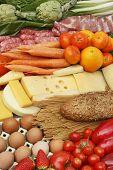 image of vegetable food fruit  - Assorted food fruit vegetables meats vegetables and dairies - JPG