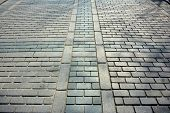 stock photo of cobblestone  - Cobblestone way in front of the Blue Mosque in Turkey - JPG