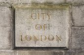 stock photo of plaque  - An engraved City of London stone plaque - JPG