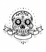 pic of day dead skull  - Hand drawn vector illistration or drawing of a skull with flowers and a ribbon - JPG