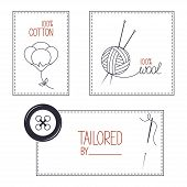 stock photo of tailoring  - Set of icons emblems and labels for cotton wool and tailor products - JPG