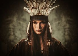stock photo of indian chief  - Woman in traditional indian garment and headdress  - JPG