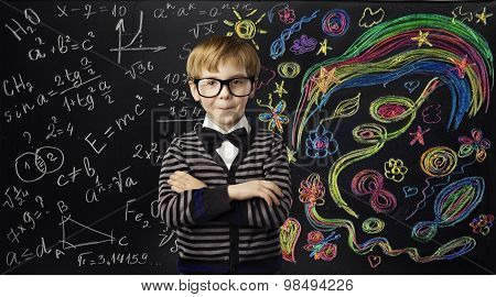 Kid Creativity Education Concept, Child Learning Art Mathematics Formula, School Boy Ideas
