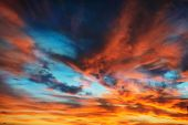 Colorful Orange And Blue Dramatic Sky poster