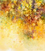 Abstract Watercolor Painting White Flowers And Soft Color Leaves poster