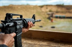 picture of shooting-range  - guns at a shooting range firing range weapon for target shooting.