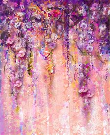 foto of violet flower  - Abstract pink and violet color flowers Watercolor painting - JPG