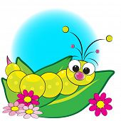 Grub on leaves with flowers - Card for kids - Scrapbook and labels useful