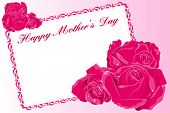 Mother's Day greeting card with roses and text frame